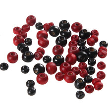 Trendy 4mm 6mm Red Black Natural Wood Spacer Beads For Jewelry Making DIY Accessories 500pcs