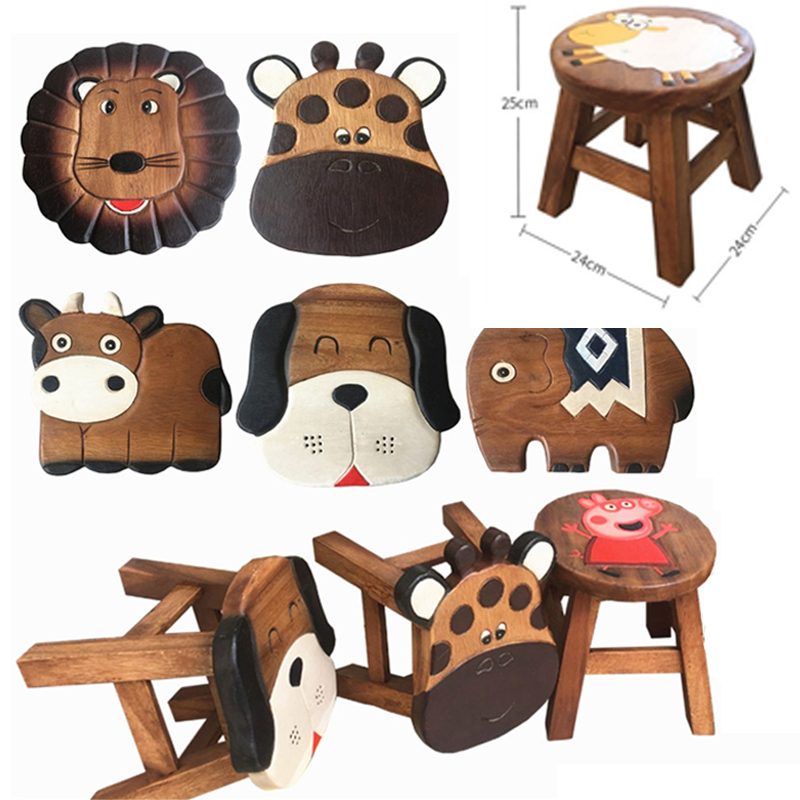 J26 Cartoon animal children's small bench natural wood no smell Hand carved Painted Home durable baby shoe bench 24*25cm