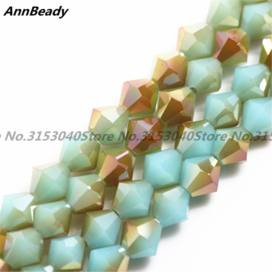 50pcs Solid Blue Plated Golden Color 6mm Bicone Spacer Austria Crystal beads Jewelry Crafts DIY Making Loose Beads Accessory