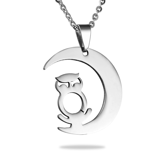 1PC New Fashion Stainless Steel Charm Owl Moon Polished Necklaces&Pendants Fit  Men Animal Jewelry Suspension Women 32x28mm