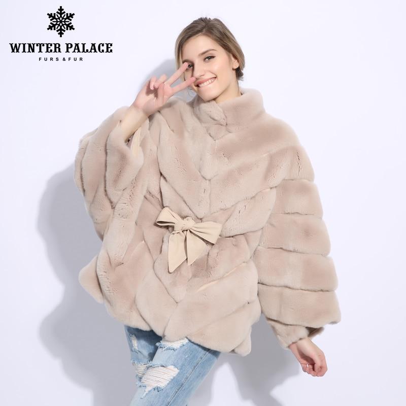 2018 Winter fur coat cape Fashion new rabblt fur coat Casual rex rabblt fur coat Solid real rex rabblt fur coat O-Neck