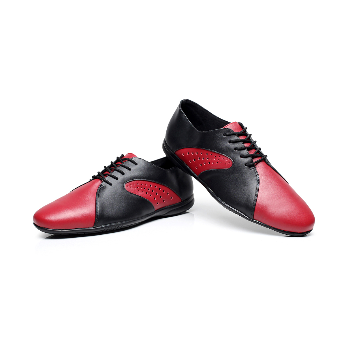 Chaussures de danse latine pour hommes en cuir véritable semelle en caoutchouc mâle noir rouge carré chaussures latines talon plat Standard chaussures de danse moderne 1605