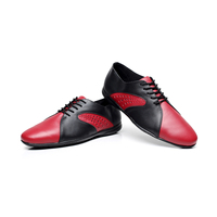 Genuine Leather Men's Latin Dance Shoes Rubber sole Male Black Red Square Latin Shoes Flat Heel Standard Modern Dance Shoes 1605