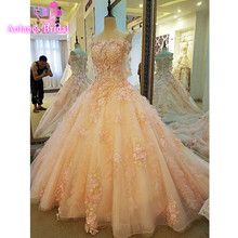 AOLANES Dubai Lace Appliques Bridal Gowns Wedding Dress