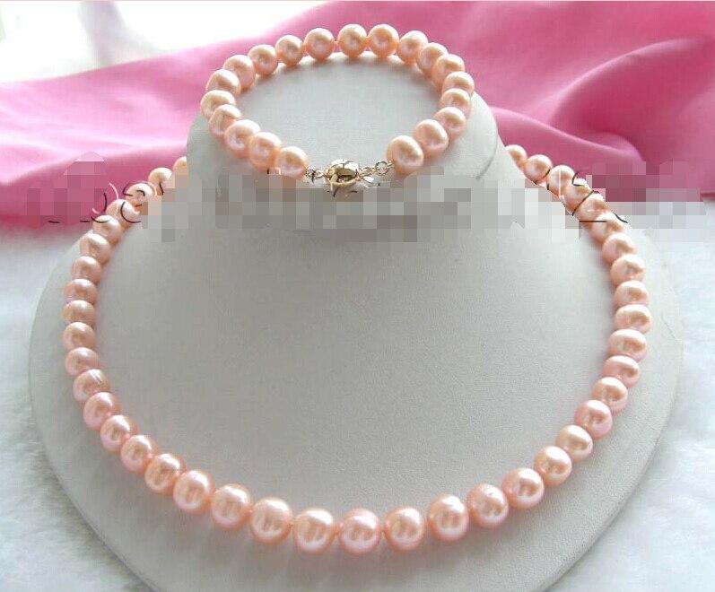 Vente chaude LIVRAISON GRATUITE Véritable Naturel 10mm Rose Collier de Perles Bracelet Ensemble! chaude