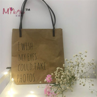 New Arrival Fashion Letter Kraft Paper Material Shoulder Bag Ladies Shopping Casual Totes