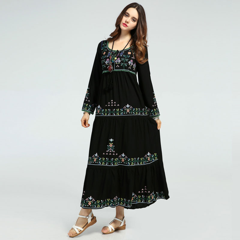 Здесь продается  UNIQUEWHO Girls Women Bohemia Long Dress Boho Chic Ankle-Length Flowers Embroidery Dress Black Loose Cotton Lace Up Dresses 2018  Одежда и аксессуары