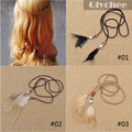 Hair Jewelry 2016 Fashion Wedding Hair Accessories Feather Headband Hairband Boho Tiara Hippie Feather Tassel Leather Belt Beads