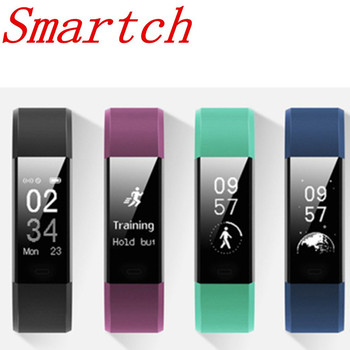 Smartch Sports Wristband ID115 Plus HR Smart Bracelet Pedometer Heart Rate Monitor Fitness Tracker 0.96 Smart Watch for IOS And meanit m5
