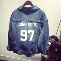 Kpop BTS ubranie Koszula płaszcz kurtka dżinsowa dziura kobiet Baseball k-pop bts Bangtan Boys uniform Kapturem Outerwears topy bluzy