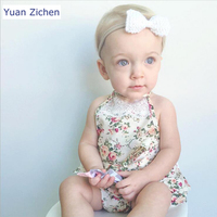 Toddler Clothes 2Pcs New Summer Baby Girl Clothes Printed Flowers Sleeveless Baby Romper Hat Girl Backless