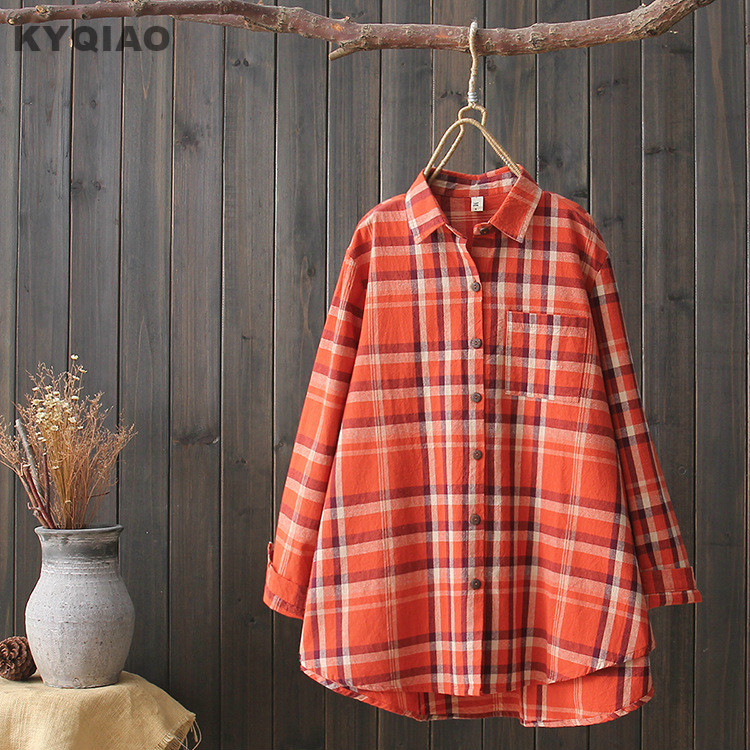 Women's Clothing Kyqiao Women Bf Style Plaid Shirt Female Autumn Winter Japan Style Japanese Style Casual Loose Long Sleeve Plaid Blouse Blusa
