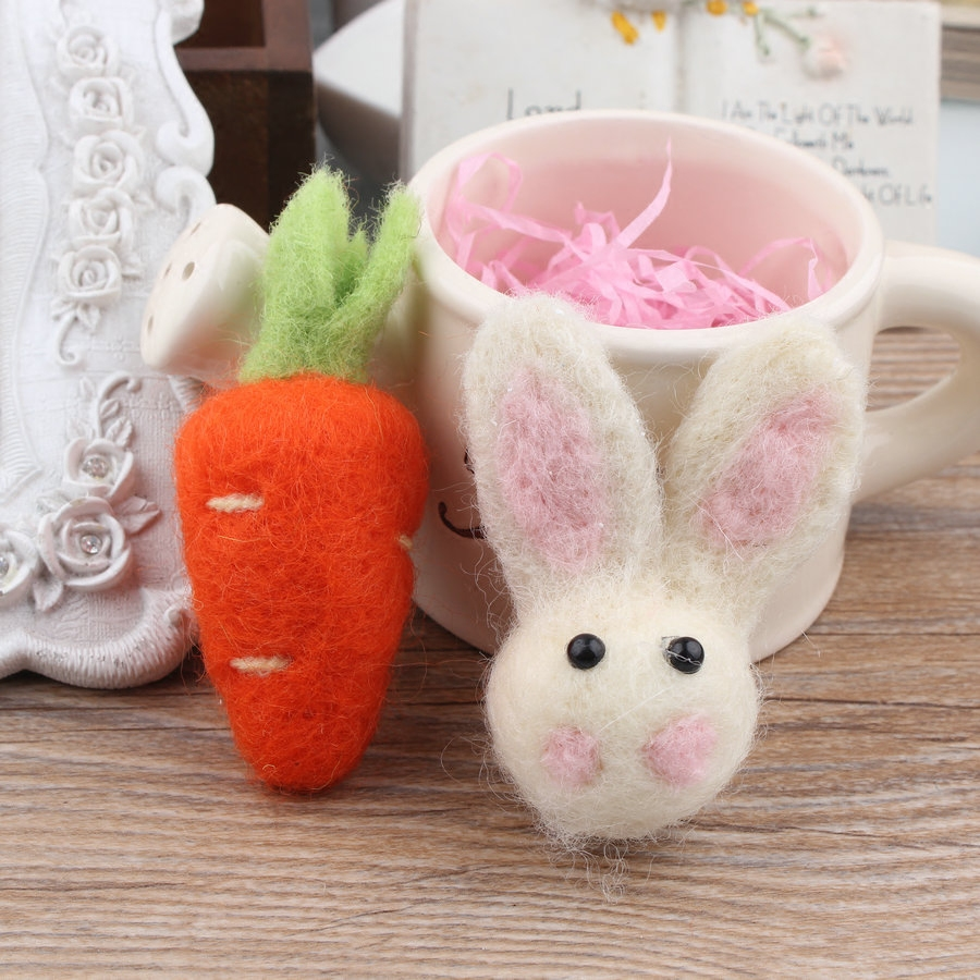 20PCS/Lot Handmade Wool Felt Rabbit Animal Carrot Food Toy Craft Fit for Girls Hair Jewelry Clips Headband Brooch DIY Material