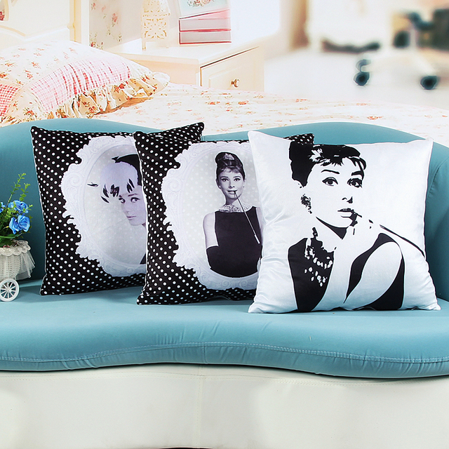 Audrey Hepburn Home Decor Cushion Linen Cotton Pillow Sofa Cushions Decorative Throw Free Shipping