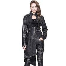 Steampunk Gothic Rivet Steel Buckle Jackets Women Black Leather Long Sleeve Coat Female Asymmetric Faux Leather Jackets