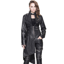 Winter Gothic Rivet Steel Buckle Jackets Black Punk Personality Women's Long Sleeve Coat Female Asymmetric Leather Jacket