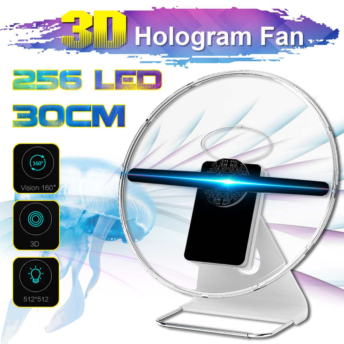 Portable 30CM 3D Holographic Projector With Battery Hologram Player LED Display Fan Advertising Light APP Control