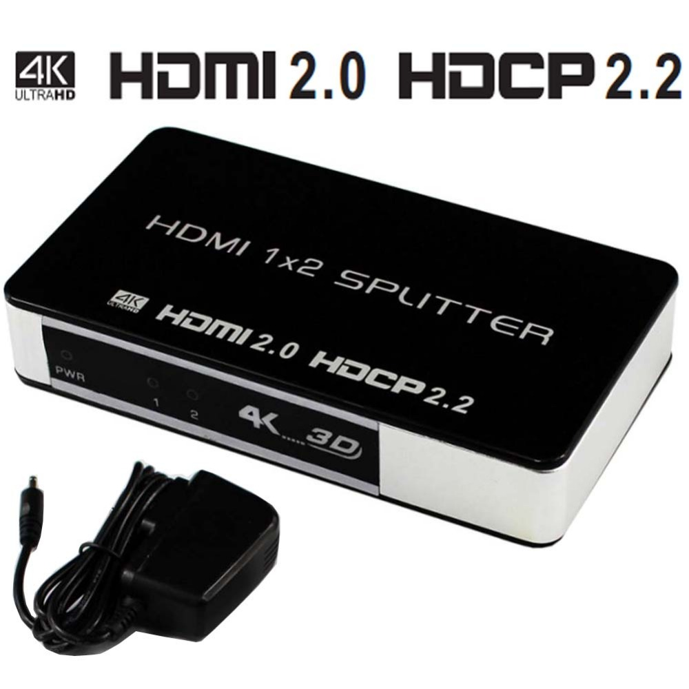 4 K 60 hz HDMI 2.0 Distributeur 1x2 Splitter HDMI Switch Box Hub UHD 4 K Soutien HDTV 1080 P 3D Pour Blu-ray DVD HDTV