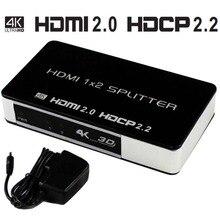 4 k 1×2 60 hz HDMI 2.0 Distribuidor Splitter HDMI Switch Hub Caixa UHD 4 k Suporte a HDTV 1080 p 3D Para Blu-ray de DVD HDTV