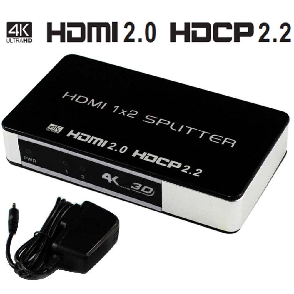 HDMI 2.0 Distributeur 1x2 Splitter HDMI 4 k 1 Dans 2 Out DC 5 v Soutien HDTV 1080 p 3D