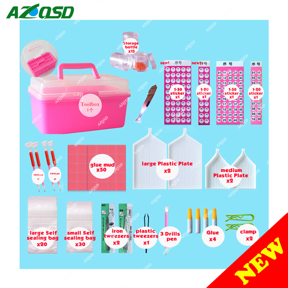 AZQSD Diamond Embroidery Accessories Diamond Painting Tool Full Kits 140pcs/set Diamond Mosaic Equipment Storage Bottle Plate