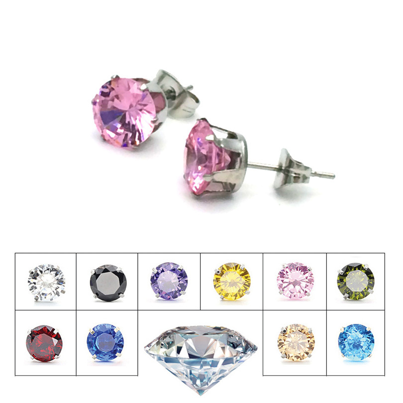 1 pair 9 color NEW Brand Design Fashion Popular Luxury Cubic Crystal 8mm Gem Zircon Stainless Steel Stud Earrings for Women