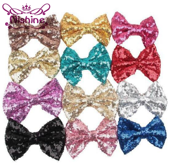 Nishine 50pcs/lot 5 Large Glitter Sequin Bow For Headband Hair Clips Kids Girl DIY Hair Accessories For Children Women Headwear halloween party zombie skull skeleton hand bone claw hairpin punk hair clip for women girl hair accessories headwear 1 pcs