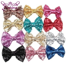Nishine 50pcslot 5 Large Glitter Sequin Bow For Headband Hair Clips Kids Girl DIY Hair Accessories For Children Women Headwear
