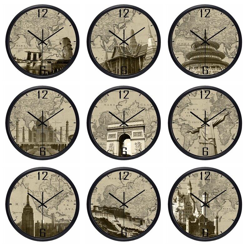 2045 49 De Réductionle Monde Fuseau Horaire Horloge Marque Hôtel Lobby Horloge Monde Lieux Dintérêt Ancien Papier Carte Horloge Ultra Calme High