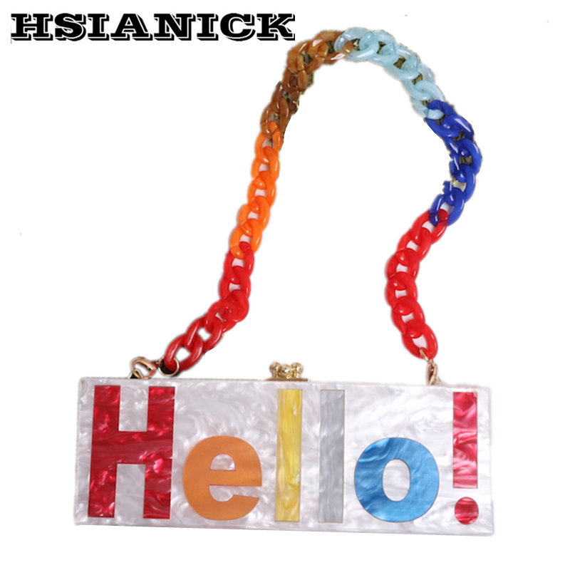Treasure girl series hit color hello Letters acrylic handmade stitching design clutch bag party prom dinner evening bag handbagTreasure girl series hit color hello Letters acrylic handmade stitching design clutch bag party prom dinner evening bag handbag