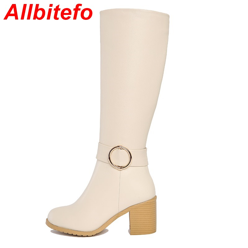 ALLBITEFO Fashion large size genuine leahter PU thick heel buckle winter snow boots platform font b