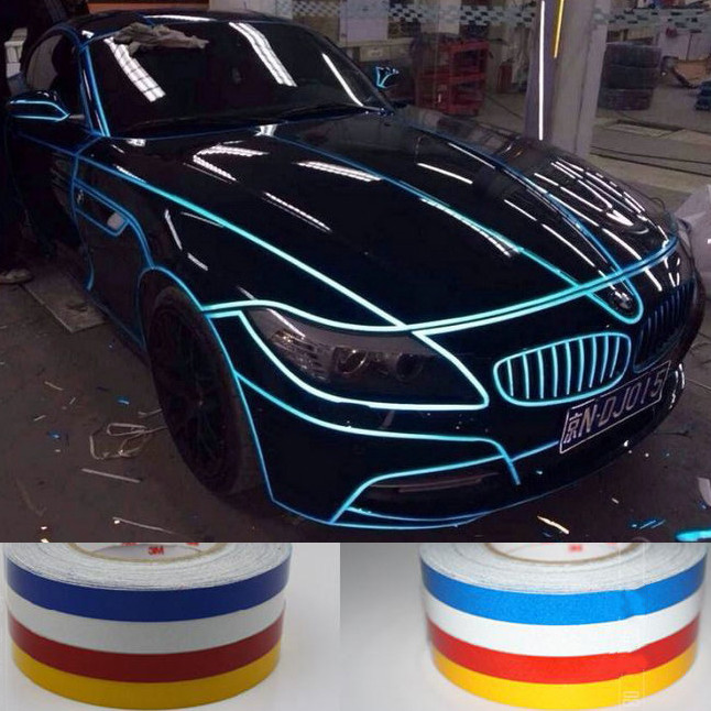 5M*1CM Reflective Sticker Car Motorcycle Decoration Decals DIY Automobile Luminous Strip Vinyl Sticker