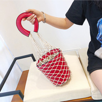Hot Sale Bag Spring Summer Knit Rope Fish Net Bucket Bags Women Handbags Luxury Lady Small Tote Bags Sac