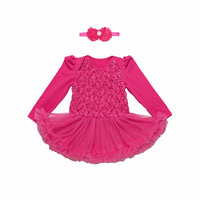 Newborn Baby Girl S Dress With Headband Floral Birthday Party Princess Baby Boutique Ball Gown Tutu