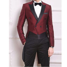 New Arrival Custom Made Men's Tailcoats Bridegroom Tuxedos Wine Red Double Breasted Groomsman Tuxedos Business Suits