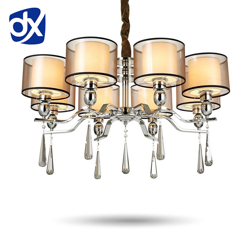 Modern Style Fabric Lampshade Crystal Chandeliers Living Room Chandelier Ceiling LED Chandelier Bedroom Lamp european style living room modern minimalist white pastoral led chandelier ceiling bedroom chandeliers