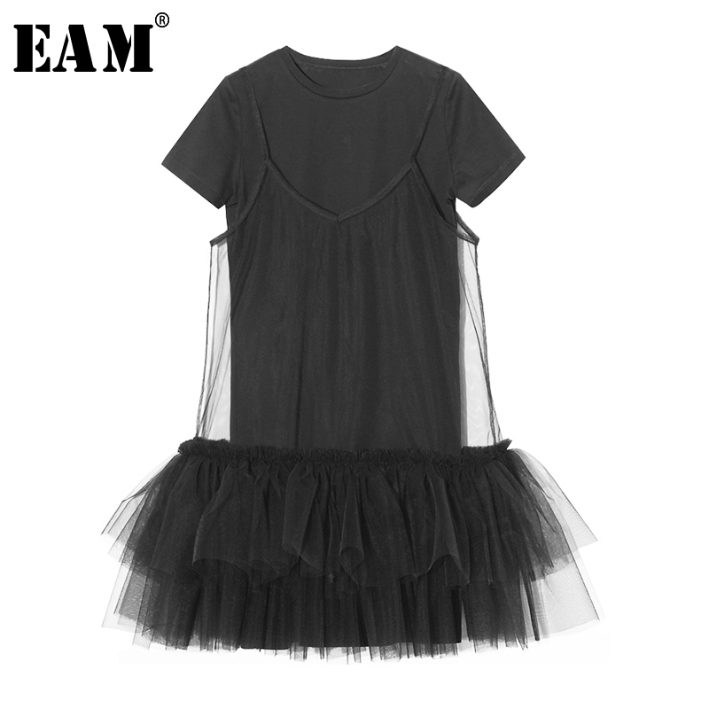 EAM 2019 New Spring Summer Round Neck Short Sleeve Black Mesh Split Joint Loose Two