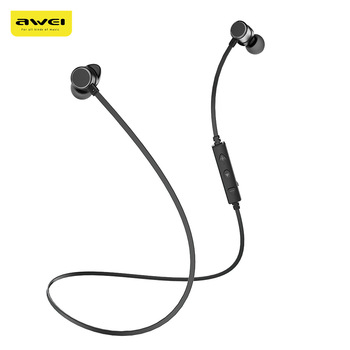 Awei WT10 Magnet Attraction Wireless Bluetooth 4.2 Earphones Stereo Sports Headphones With Microphone Neckband Headset