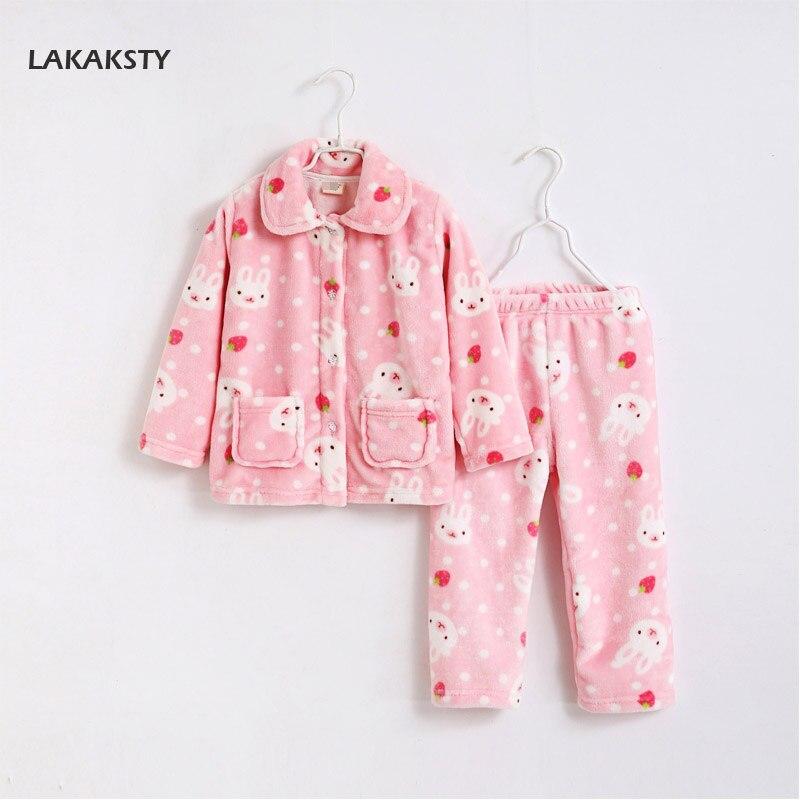 LAKAKSTY Kids Christmas Pijama Warm Flannel Pajama Set For Baby Girls 4-10 Years Childrens Nightwear Bathrobe Clothes Homewear