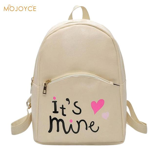 0031591aae Preppy Chic Women PU Leather Backpack Fashion Female Backpack Mini Letter  Printed School Bags for Teen