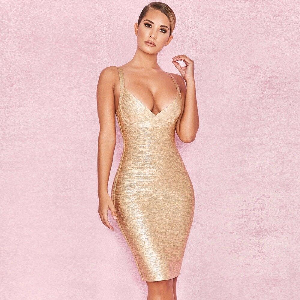 En gros 2018 Nouvelle Robe Or V-cou Spaghetti Sangle Élasticité serré Sexy discothèque Cocktail robe de bandage de fête (L2294)