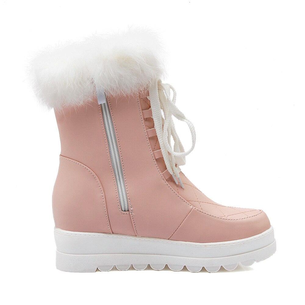 Peluche Confortable Et De Chaussons Sauvage pink Chaussures Neige white Femmes Black À Coton Mode En Automne Chaud Plat Bottes D'hiver La Fx0S6v