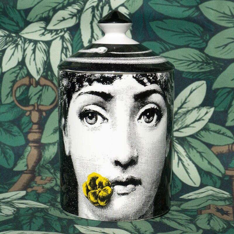 Fornasetti Bougeoirs Candélabres Décoration De La Maison En Céramique Exquise Gobelet Floral Fleur Pots Pot De Stockage