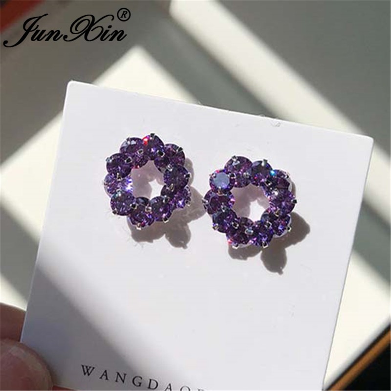 JUNXIN Charm Purple Crystal Round Earrings Silver Color Cute Wedding Stud Earrings For Women Zircon Double Earrings Jewelry