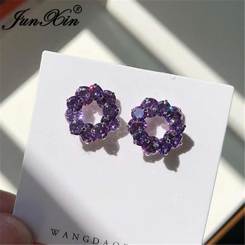JUNXIN Charm Purple Crystal Round Earrings Silver Color Cute Wedding Stud Earrings For Women Zircon Double Earrings Jewelry