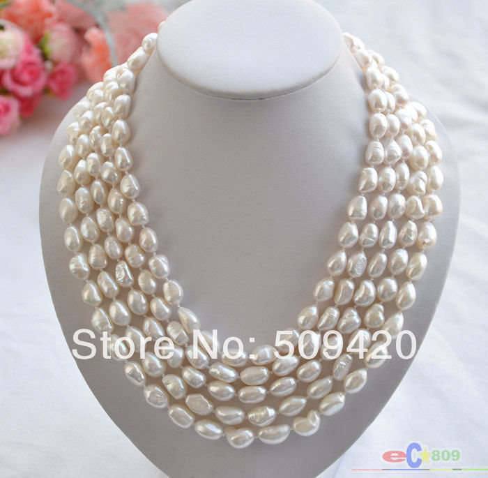 ~~ Free Shipping >>P4326 5row 17-22 12mm white baroque FRESHWATER CULTURED pearl necklace