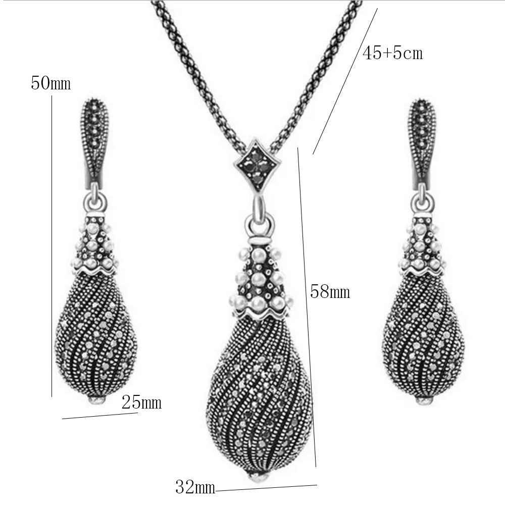 Ретро серый черный винтажные комплекты украшений для женщин Перал Подвеска в виде капли воды форма ожерелье/серьги женский свадебный ювелирный набор