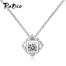 New 925 Sterling Silver Women Necklaces Pandants Korean Style Square Cubic Zircon Wedding Jewelry For Girls Wholesale