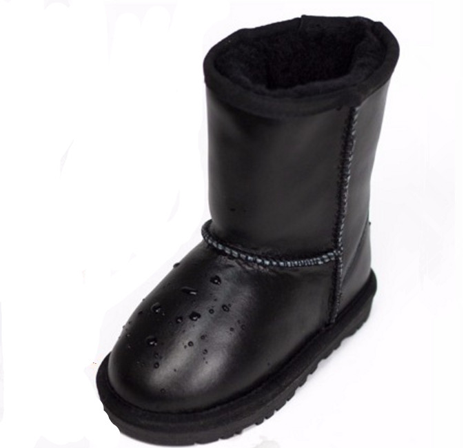 2016 winter genuine leather Waterproof non slip children s snow boots wool warm flat solid