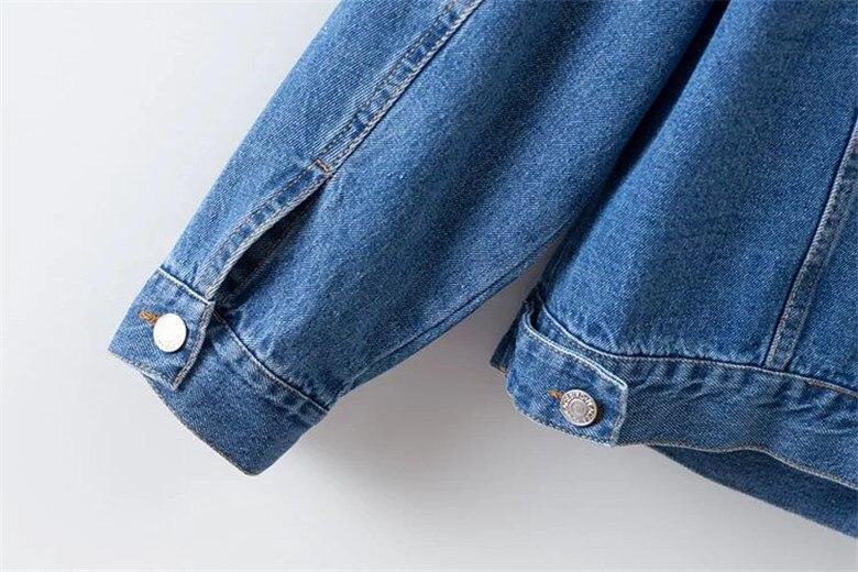 dower me Blue Plus Size XL-4XL Women Denim Jacket Casual Streetwear Coat Vintage Button Pockets Commuter Coat Women Outwear